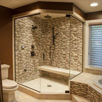 Gallery Of Walkin Tile Shower Two Person With Bench Design And Body Sprays
